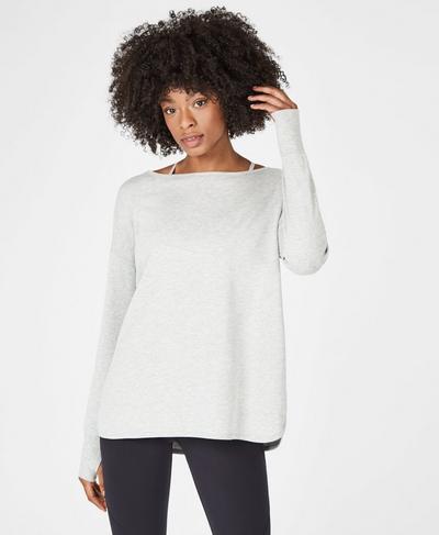 Simhasana Sport Sweatshirt, Light Grey Marl | Sweaty Betty