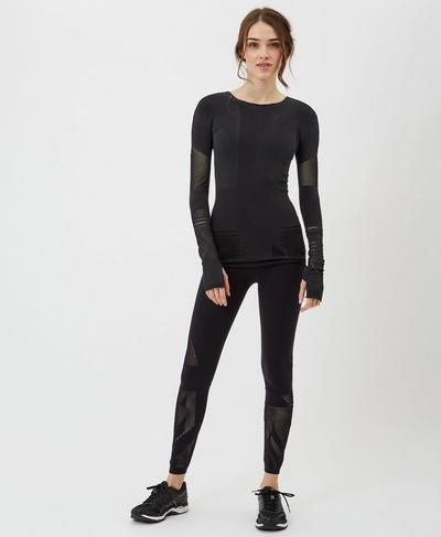 Union Jack Seamless Long Sleeve Top, Black | Sweaty Betty