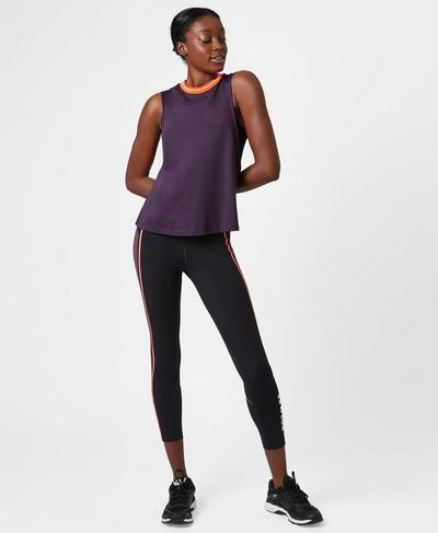 Flow Cropped Rib Trim Tank, Aubergine | Sweaty Betty