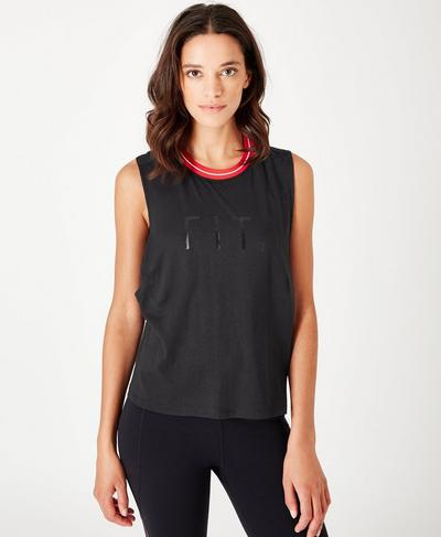 Flow Cropped Rib Trim Tank, Black | Sweaty Betty