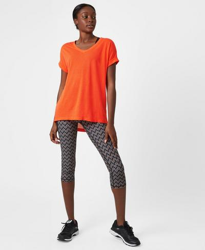 Ab Crunch V-Neck Tee, Orange | Sweaty Betty