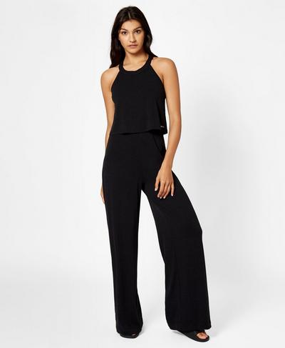 Holistic Jumpsuit, Black Marl | Sweaty Betty