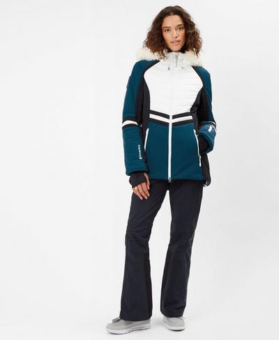 Method Hybrid Ski Jacket, Beetle Blue Colour Block   Sweaty Betty