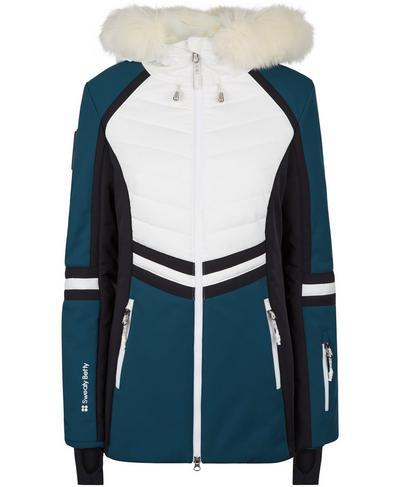 Method Hybrid Ski Jacket, Beetle Blue Colour Block | Sweaty Betty