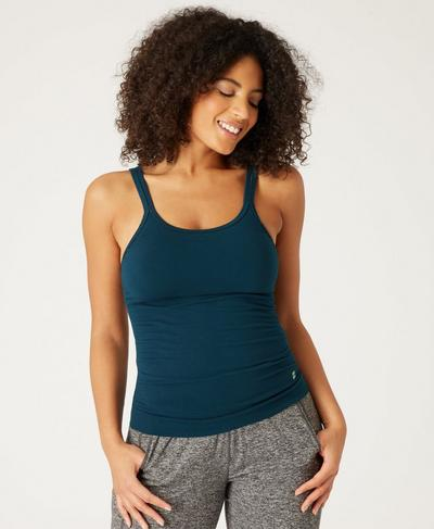 Namaska Bamboo Yoga Tank, Beetle Blue | Sweaty Betty