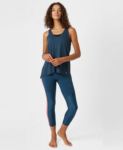 Split Back Longline Tank, Beetle Blue | Sweaty Betty