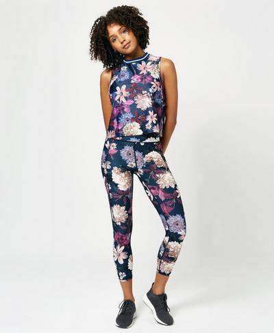 Flow Cropped Print Vest, Beetle Blue Blooms Print | Sweaty Betty