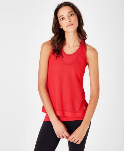 Seamless Double Time Workout Tank, Tulip Red | Sweaty Betty