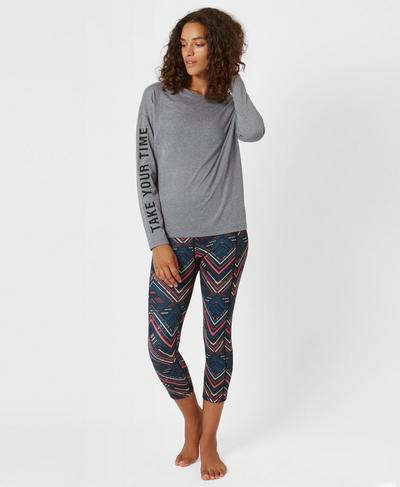 Slogan Long Sleeve Base Layer Top, Charcoal Marl | Sweaty Betty