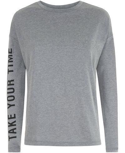Slogan Long Sleeve Base Layer Top, Charcoal Marl | Sweaty Betty