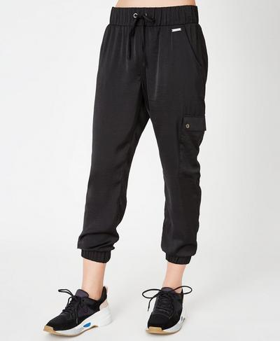 Luxe Cargo Satin 7/8 Pants, Black | Sweaty Betty