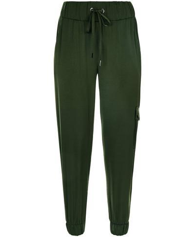 Luxe Cargo Satin 7/8 Trousers, Olive | Sweaty Betty