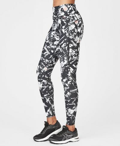 Zero Gravity High Waisted Running Leggings, Black Carnaby Photo Print | Sweaty Betty