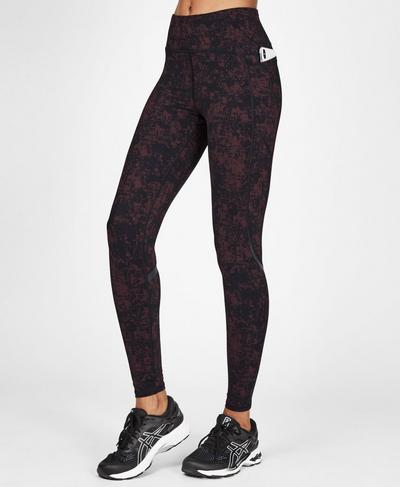 Zero Gravity High Waisted Running Leggings, Black Cherry Concrete Print | Sweaty Betty