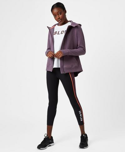 Luxe Time Out Zip Through, Aubergine | Sweaty Betty