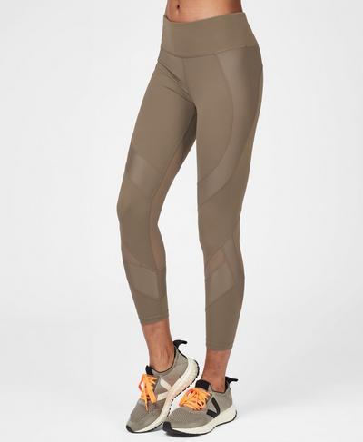 Power Mesh 7/8 Workout Leggings, Dark Taupe | Sweaty Betty
