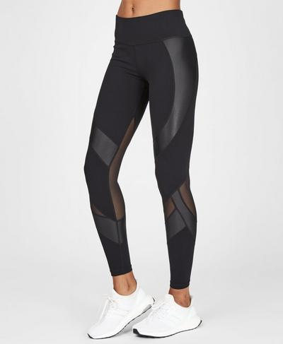 Power Wetlook Mesh Leggings, Black | Sweaty Betty