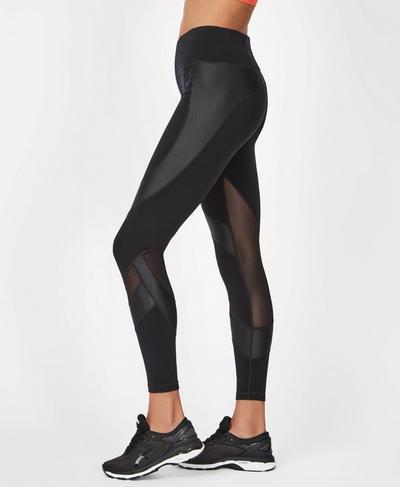 Power Mesh 7/8 Workout Leggings, Black | Sweaty Betty