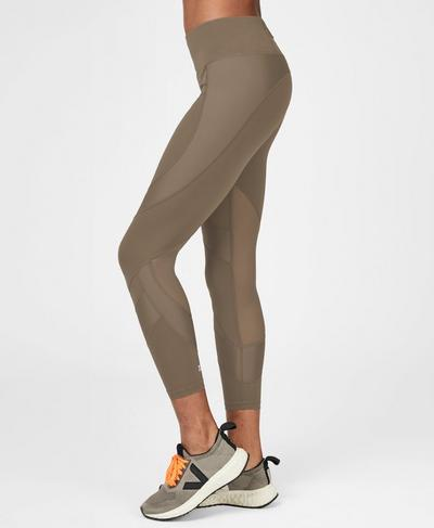Power Mesh 7/8 Workout Leggings, Dark Taupe | Sweaty Betty