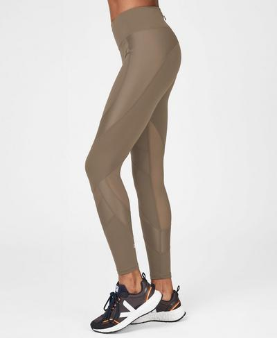 Power Mesh Workout Leggings, Dark Taupe | Sweaty Betty
