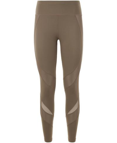 Power Mesh Gym Leggings, Dark Taupe | Sweaty Betty