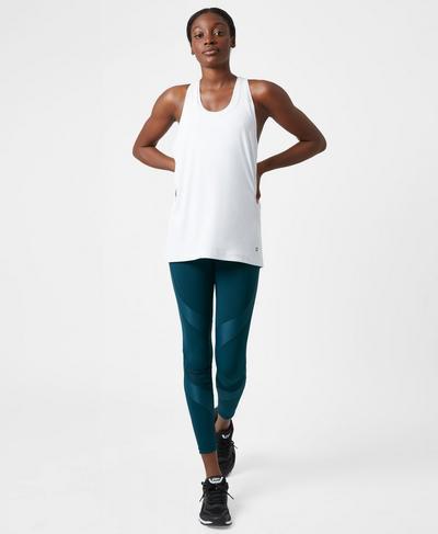 Power Wetlook Mesh Workout Leggings, Midnight Teal | Sweaty Betty