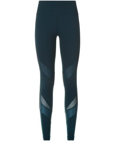 Power Wetlook Mesh Workout Leggings, Midnight Teal | Sweaty Betty