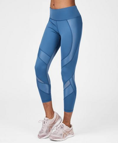 Power Mesh 7/8 Workout Leggings, Stellar Blue | Sweaty Betty