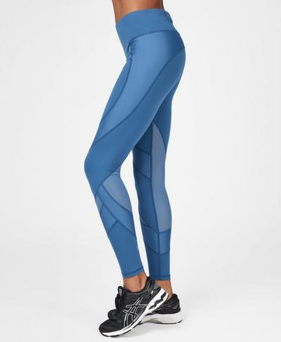 Power Mesh Gym Leggings, Stellar Blue | Sweaty Betty