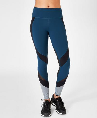 Power Wetlook Mesh Leggings, Beetle Blue Colour Block | Sweaty Betty