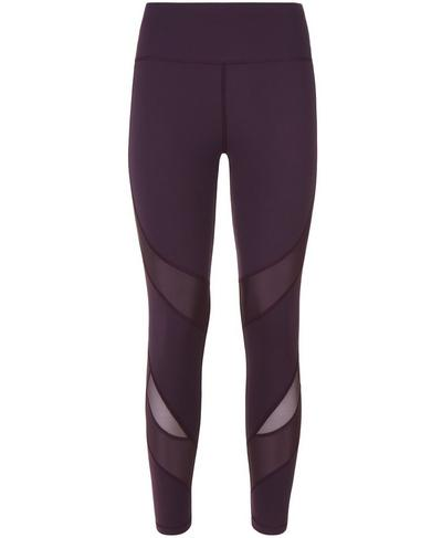 Power Wetlook Mesh 7/8  Leggings, Aubergine | Sweaty Betty