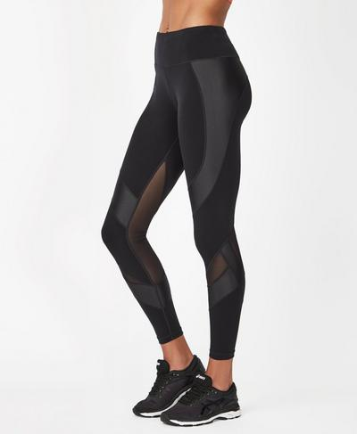 Power Mesh 7/8 Leggings, Black | Sweaty Betty