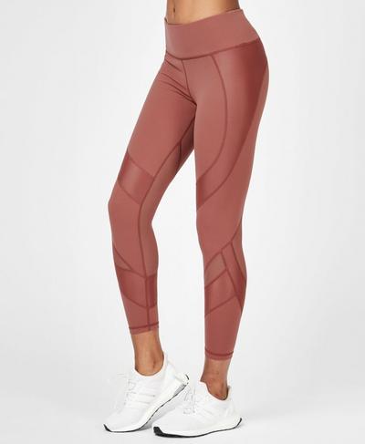 Power Mesh 7/8 Workout Leggings, RUST | Sweaty Betty