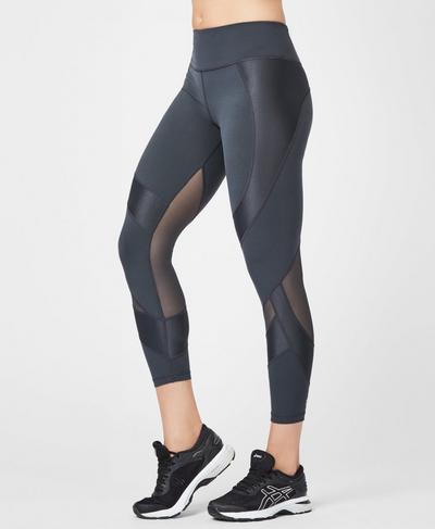 Power Mesh 7/8 Workout Leggings, Slate | Sweaty Betty