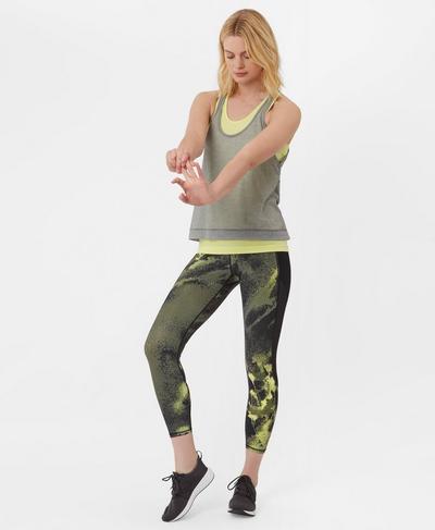 Zero Gravity High Waisted 7/8 Running Leggings, Olive Spray Paint Floral | Sweaty Betty