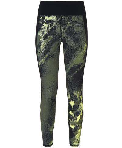 Zero Gravity 7/8 Run Leggings, Olive Spray Paint Floral | Sweaty Betty