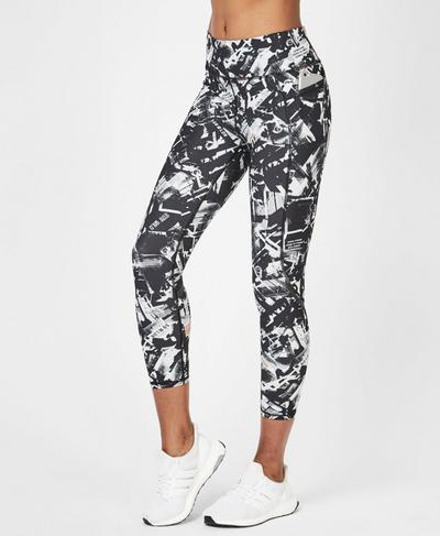 Zero Gravity High Waisted 7/8 Running Leggings, Black Carnaby Photo Print | Sweaty Betty