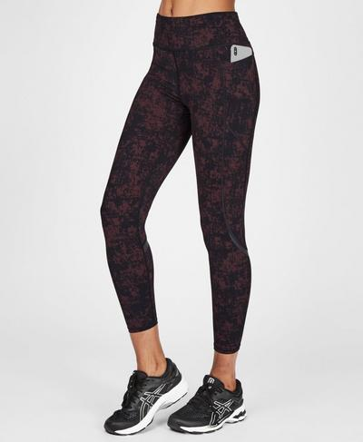 Zero Gravity High Waisted 7/8 Running Leggings, Black Cherry Concrete Print | Sweaty Betty