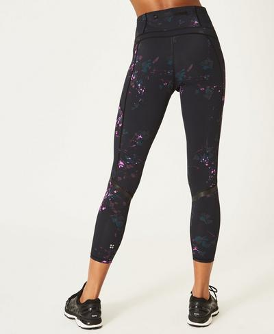 Zero Gravity 7/8 Run Leggings, Black Daisy print | Sweaty Betty