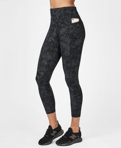 Zero Gravity High Waisted 7/8 Running Leggings, Slate Concrete Print | Sweaty Betty