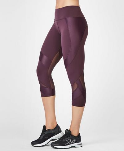 Power Mesh Cropped Workout Leggings, Aubergine | Sweaty Betty