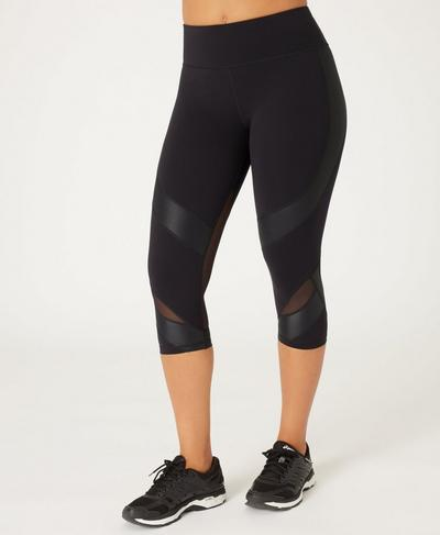 Power Wetlook Mesh Crop Leggings, Black | Sweaty Betty