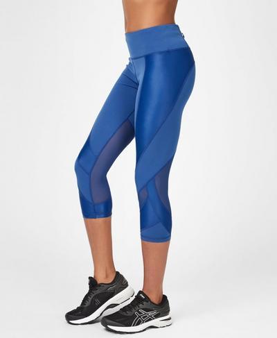 Power Mesh Cropped Workout Leggings, Blue Quartz | Sweaty Betty