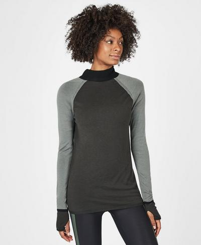 Rebel Merino Turtleneck Jumper, Sage Green | Sweaty Betty