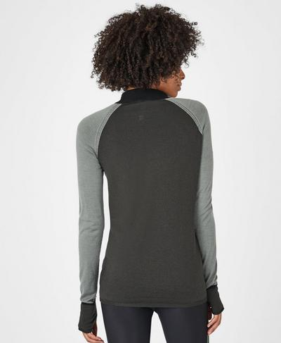 Rebel Seamless Merino Jumper, Sage Green | Sweaty Betty