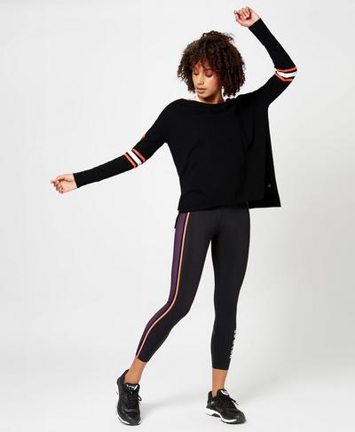 Simhasana Slogan Sweatshirt, Black | Sweaty Betty
