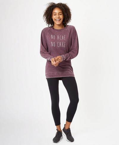 Asteya Long Sleeve Yoga Top, Oxblood | Sweaty Betty