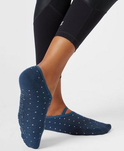 Pilates Socks, Beetle Blue Polka Dot | Sweaty Betty