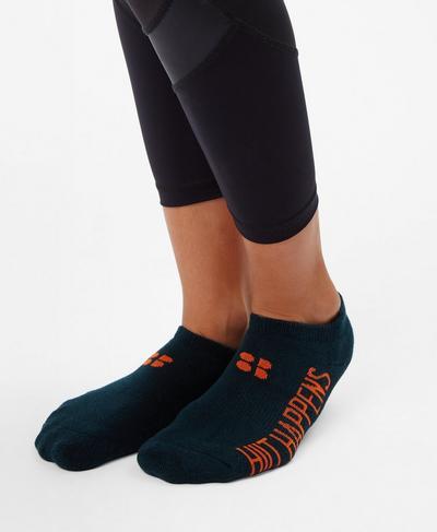 Sneaker Liners, Midnight Teal Slogan Jacquard   Sweaty Betty
