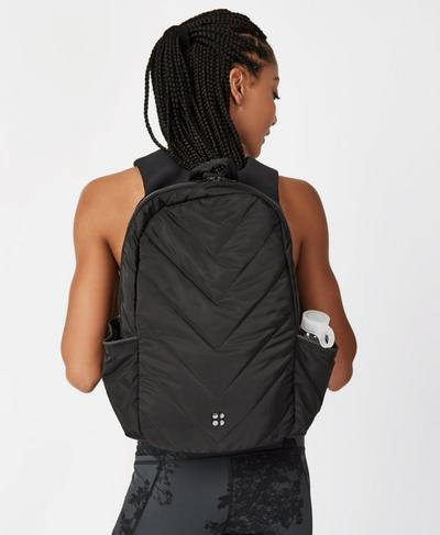 Quilted Luxe Running Backpack, Black | Sweaty Betty